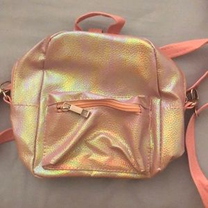 Holographic mini backpack